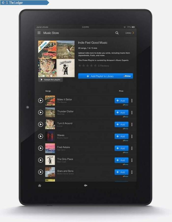 Amazon.com Inc. will offer more than a million tracks for ad-free streaming and downloading to Kindle Fire tablets.
