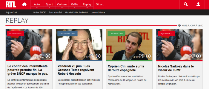 Capture d'écran de la nouvelle interface RTL.fr