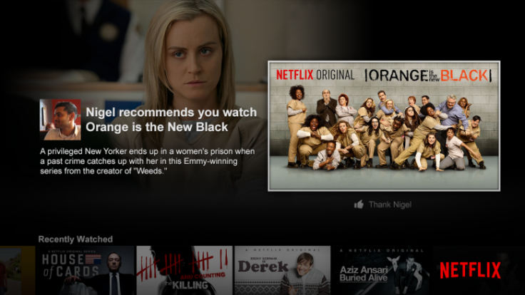 Above: Netflix's newest feature lets you share movie recommendations with Facebook friends. Image Credit: Netflix