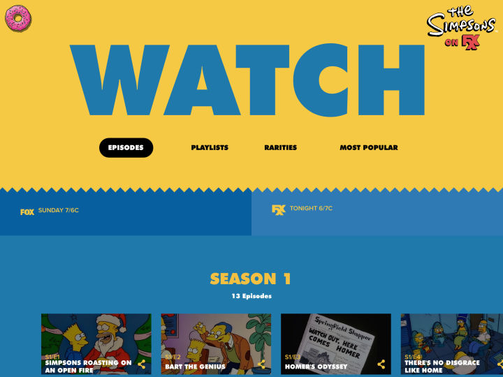 Simpsons World main menu on iPad