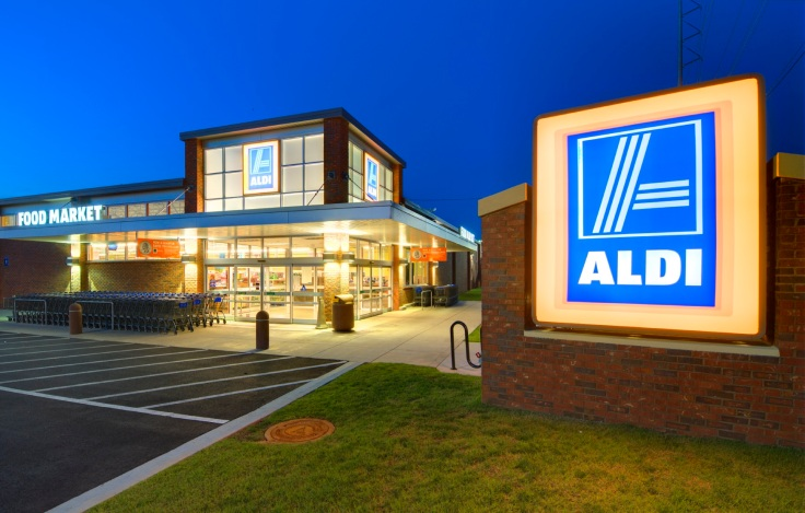 ATHENS, GEORGIA: MAY 8, 2012: Aldi Food Market May 8, 2012 in Athens, GA. The German-based discount supermarket chain operates about 8,133 individual stores worldwide.